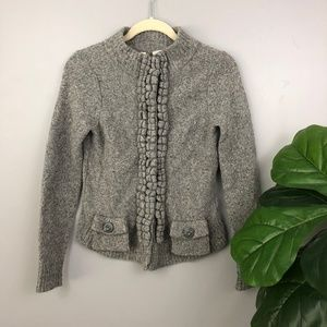 Moth Floating Sparks Grey Wool Cardigan Sweater S